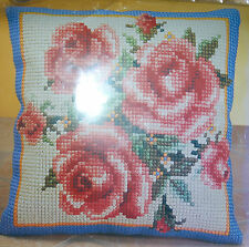 New Rose Cross Stitch Cushion Pillow 38x38cm Colour Canvas, Yarn & Needle