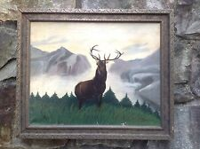 1901 R. DeForest Jones FRAMED Oil Painting STAG BUCK DEER Mountain LANDSCAPE USA