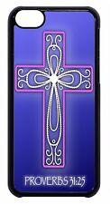 Cross Proverbs 31:25 Religious Verse Black Case Cover iPhone 4s 5 5s 5c 6 6+