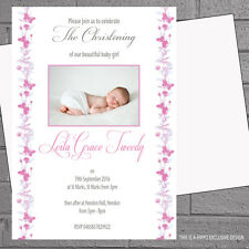 Personalised Christening Invitations Naming Day Girls Butterflies x 12+env H0011
