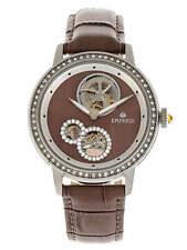 Empress Tatiana Automatic Semi Skeleton Dial Brown Leather Women's Watch EM2903