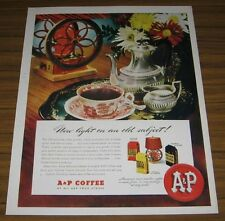 1947 Print Ad A&P Coffee Old Fashioned Coffee Grinder,Pot,Cup,Creamer