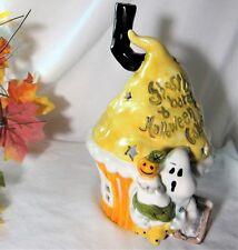 "Blue Sky Clayworks Goldminc Ghostly Baker Halloween T-Light Holder House 9"" 2016"