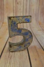 FANTASTIC VINTAGE STYLE BLUE 3D METAL SHOP SIGN NUMBER 5 ADVERTISING FONT