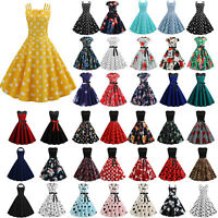 Womens Vintage Rockabilly Floral Skater Dress Evening Party Cocktail Prom Gown