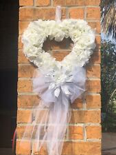 White Rose, Silver Leaf with Veil Wreath Door Hanging Wedding