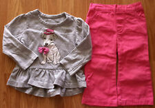 Girl's Size 12 M 9-12 Months Gray Bobbie Brooks Rhinestone Puppy L/S Top & Pants