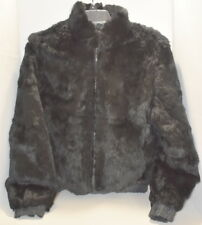 Rabbit Fur Jacket Woman Size XS S Black Reversible Fur Origin France