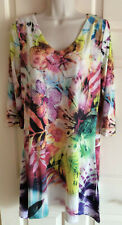 Women's 3/4 Sleeve Multi-Color Floral Bling & Lace Stretch Tunic / Dress ~ Sz M