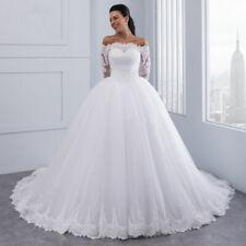 2021 Langarm Brautkleid Hochzeitskleid Kleid Braut schulterfrei A-Linie BC981