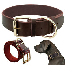 Adjustable Genuine Leather Pet Dog Collar Red Brown for Small Large Dog Labrador
