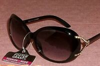 Womens Fashion Sunglasses Foster Grant Black Frame Silver V Rhinestone Stem #005