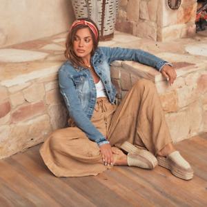 Jaase Women's Harli Denim Crop Jacket Blue Cotton distressed detailing stretch