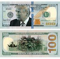 100pk In Trump DRAIN THE SWAMP in  2020 Dollar Bills  MAGA Novelty Funny Money