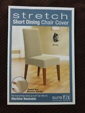 Sure Fit Stretch Pique Chocolate Short Dining Chair Slipcover NIP