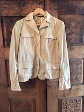 Theory Sz 10 Beige Khaki Cotton Pockets Light Weight Jacket