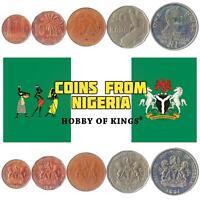 SET OF 5 COINS FROM NIGERIA. 1, 10, 25, 50 KOBO, 1 NAIRA. AFRICA MONEY 1991-1993