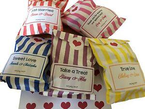 Custom Wedding Favour - Sweet Birthday - Candy Cart Bags - Stripe - Personalised