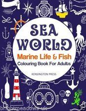 Sea World Marine Life Adult Colouring Book Fish Ocean Calm Waves Sai Boat Coral