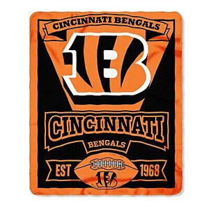"""Cincinnati Bengals Licensed """"Marque"""" Fleece Throw Blanket  50'' X 60''"""