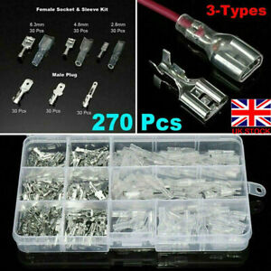 270pc Assorted Insulated Electrical Wire Terminal Crimp Connectors Spade Set Kit