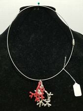 Silver And Red Coral - Stainless Steel  Wire Choker Necklace       Z10