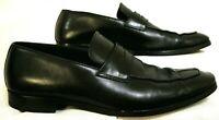 ERMENEGILDO ZEGNA Mens 10 Black Slip On Leather Loafers Vibram Soles Dress Shoes