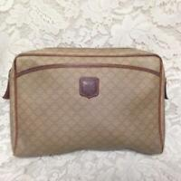 Celine, Paris, Italy Cream Mono Large Size Cosmetic Pouch 11in x 7in x 2.5in