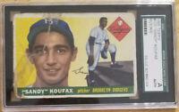 SANDY KOUFAX 1955 TOPPS ROOKIE CARD #123 DODGERS HOF RC 🔥SGC AUTHENTIC🔥