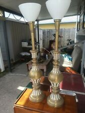 Pair Of Antique Hollwood Regency White Washed Brass Heavy Table Lamps