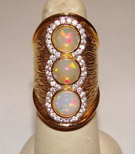 Carol Brodie Rarities Sterling Silver Vermeil 3 Opal & Multi Zircon Ring SZ 6