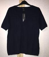 M&S Autograph Navy Blue Pure Cashmere Short Sleeve Jumper Size 10 BNWT