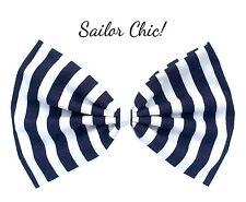 Navy Blue & White stripe oversized nautical sailor hair bow clip