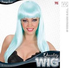 Ladies Long Turquoise Wig With Fringe Beautiful Diva Lady Gaga Style Fancy Dress