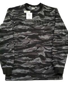 Puma Men's Camo Crew Fleece Sweatshirt Relaxed Fit - Black / Grey Size US M