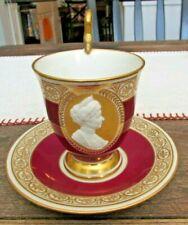 Rare Antique KPM Royal Berlin Cameo Portrait Cup Saucer Empress Augusta Victoria