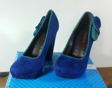 CURVE HEEL FAUX SUEDE PLATFORM TEAL AND NAVY BLUE SHOES UK SIZE 5 NEW IN BOX