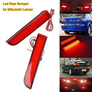 2x Red For MITSUBISHI LANCER EVO Rear Bumper Reflector LED Fog Lamp Brake Light