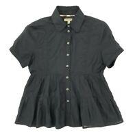 Burberry London Black Sheer A Line Ruffle Short Sleeve Shirt Blouse Top, UK 6