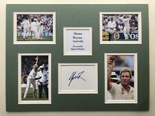 "Australia Cricket Shane Warne Signed 16"" X 12"" Double Mounted Display"