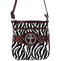 RED CROSS ZEBRA LOOK MESSENGER BAG SATCHEL CROSS BODY WESTERN MONTANA WEST BLING