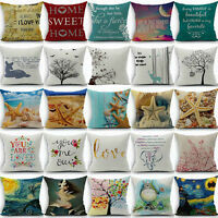 "New 18"" Cotton Linen Pillow Case Cover Sofa Waist Throw Cushion Cover Home Decor"
