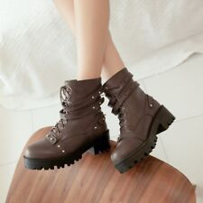 Womens Riding Combat Ankle Boots Punk Buckle Biker Motor Goth Chunky Heels Shoes