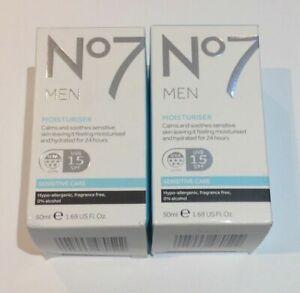 No7 MEN MOISTURISER sensitive care SPF15  2 x 50ml (0522)