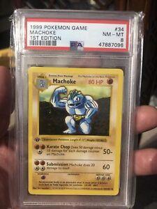 1999 Pokemon PSA 8 Shadowless Machoke 34/102 1st Edition Base Set