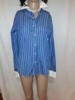 Ralph Lauren Black Label Women's Striped Cotton Slim Fit Blouse Size 8
