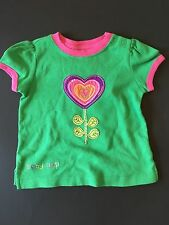 NWT BABY GAP GIRLS BRIGHT RINGER T SHIRT 6-12 MONTHS GREEN HEART EMBROIDERY