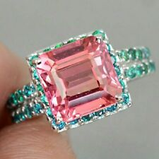 Vintage 12.66CT Cushion Cut Pink Padparadscha Sapphire Blue Apatite Accents Ring