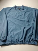 FJ FootJoy Mens Pullover Windbreaker Size XL Blue V Neck 100% Polyester