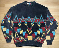 Vintage Colore Italian Cosby Sweater Jumper Size L Knit Pattern Retro 80s 90s